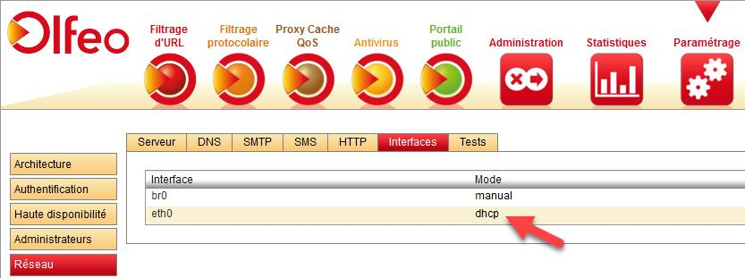 Config interface dhcp